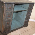 Distressed black with dark glaze finish. Inside blue with dark glaze.