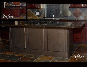 Cherry Kitchen with Island in a smoke treatment