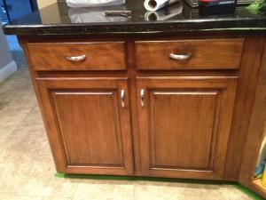 Darkened cabinets